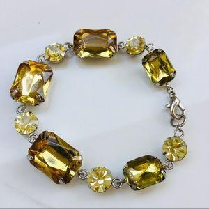 Jewelry - Gold crystal bracelet bezel emerald round stones